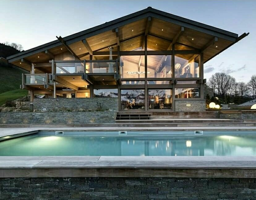 manly custom home with pool