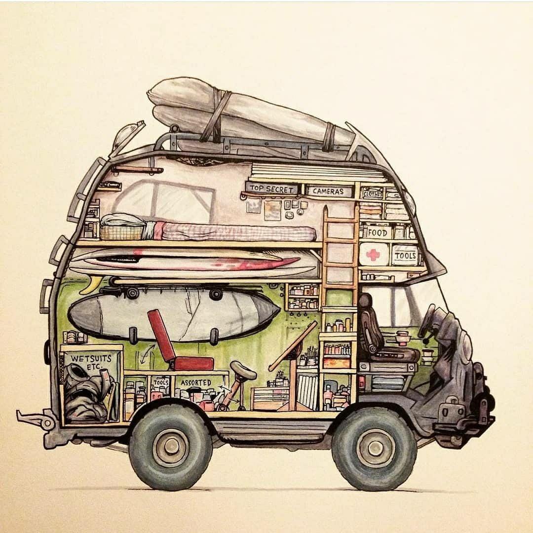 drawing of fully loaded camper van