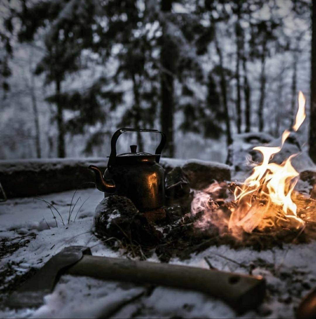 axe near campfire