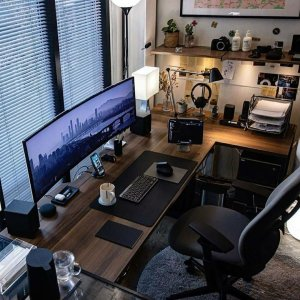 simple clean masculine home office