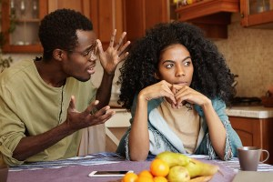 People And Relationships Concept. African American Couple Arguin