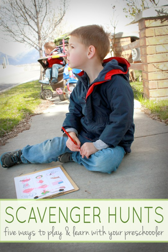 Take learning outside and go on a preschool scavenger hunt. Here are FIVE different ways to play and learn (with FREE printables) as you hunt around the neighborhood with your child. Learn shapes, colors, letters, and more!