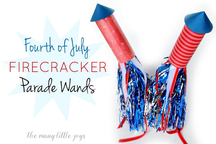 If you're headed to a parade this holiday (or if you just want to march around your living room), this firecracker parade wand is a fun preschool Fourth of July craft that will add some oomph to your celebration.