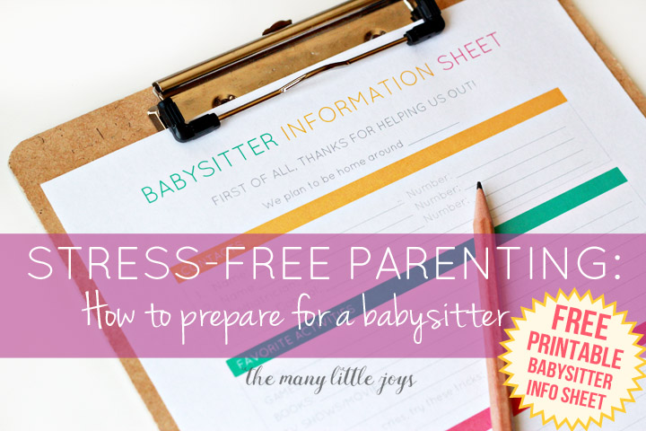 photograph relating to Babysitter Info Sheet Printable known as Strain-cost-free Parenting: How in direction of Program for a Babysitter (free of charge