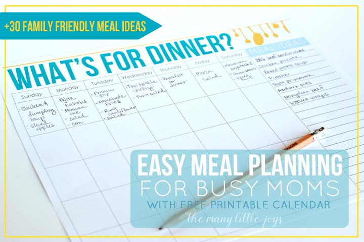 save yourself time and money by using this simple free printable menu planner to keep yourself organized at dinnertime plus get over 30 ideas for