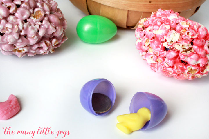 Although it's a simple recipe, there is more to these Easter egg-shaped popcorn balls than meets the eye. Kids will be thrilled with the surprise awaiting them inside this fun Easter dessert!
