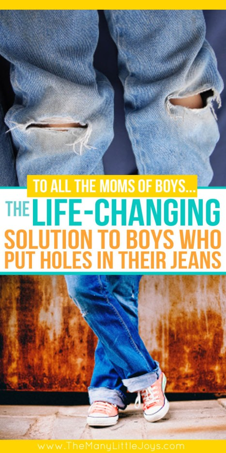 Are you tired of buying new jeans only to have your boys wear holes in the knees within a week? If so, take a peek at this simple money-saving tip that is the solution to your holey jean woes.