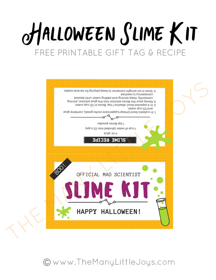Diy Halloween Slime Kit With Free Printables The Many Little Joys
