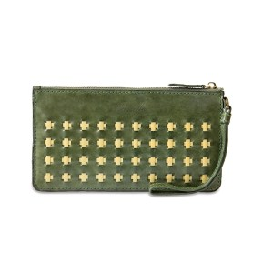 Leather Clutch, Olive Green