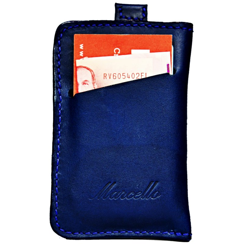 marine blue mini wallet back