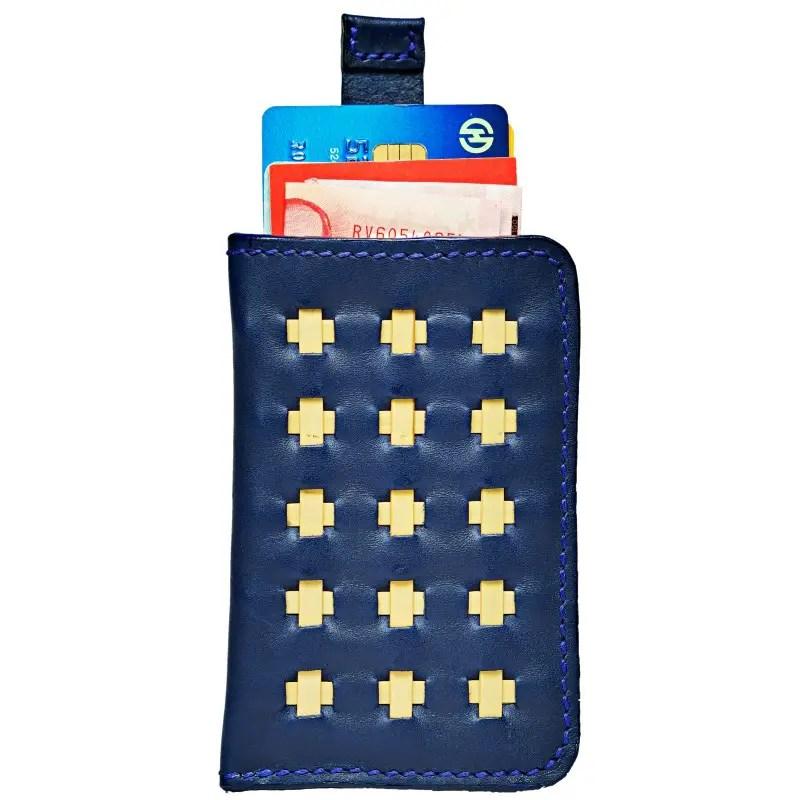 mini wallet marine blue open up whole