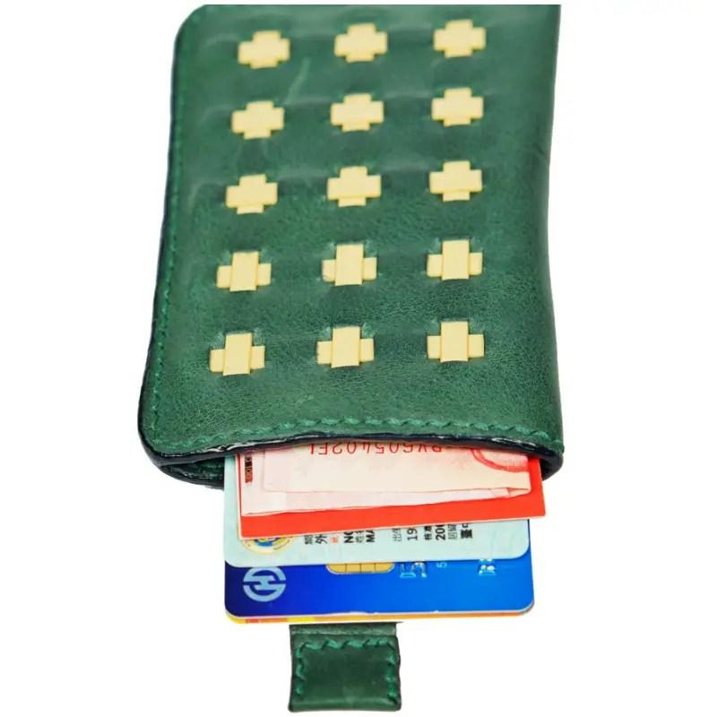 green wallet open