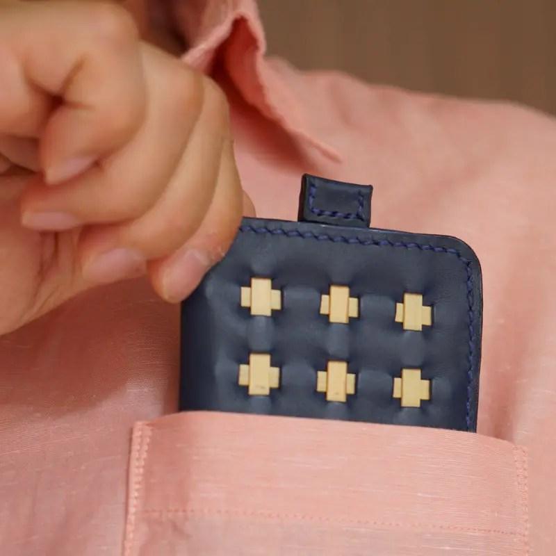 mini wallet marine blue pocket