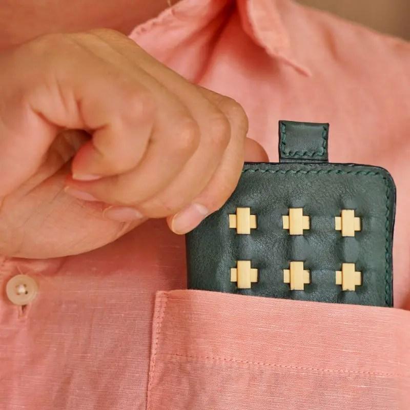 mini wallet olive green pocket model