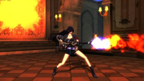 Natasha from Rusty Hearts with her flame thrower