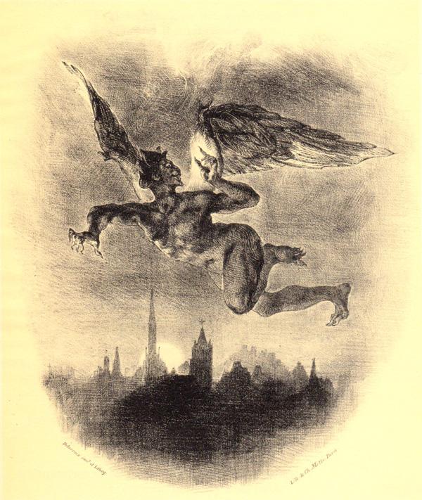 One of Delacroix's rare illustrations for Goethe's Faust