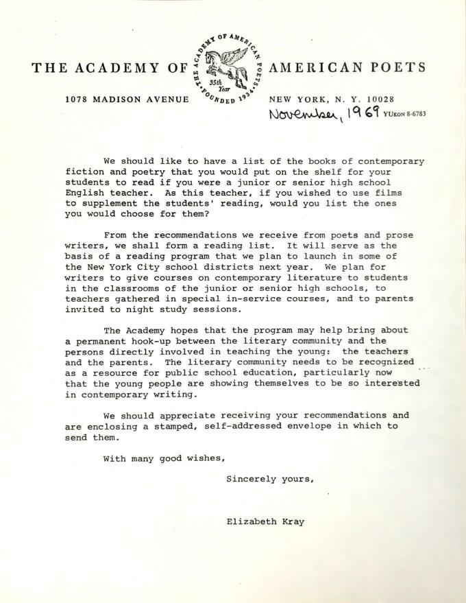 Letter from Elizabeth Kray to Thom Gunn, 1969