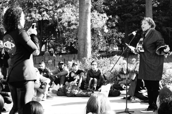 Elizabeth Alexander (right) as I (left) record her speech. (Photograph: Susan)