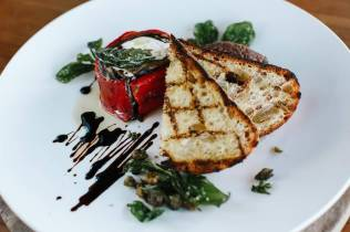 Eggplant capsicum basil & goats cheese roulade w olive tapenade & sourdough toast