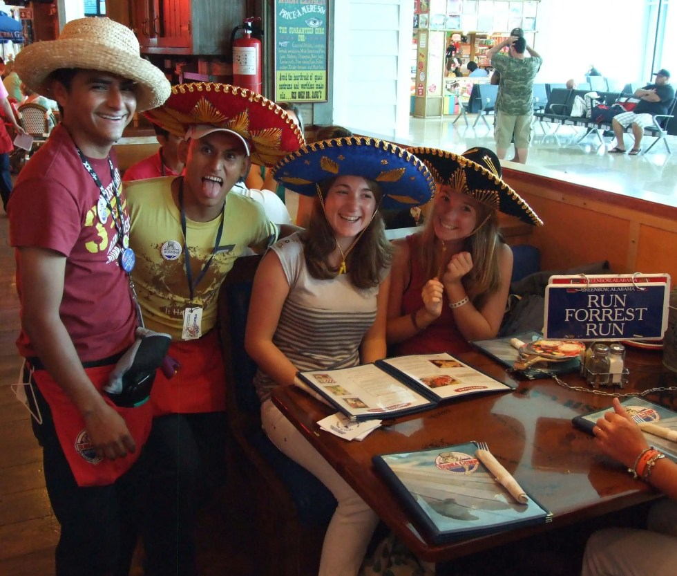 Great brand experiences. Staff and customers at The Bubba Gump Shrimp Co. Cancun Mexico