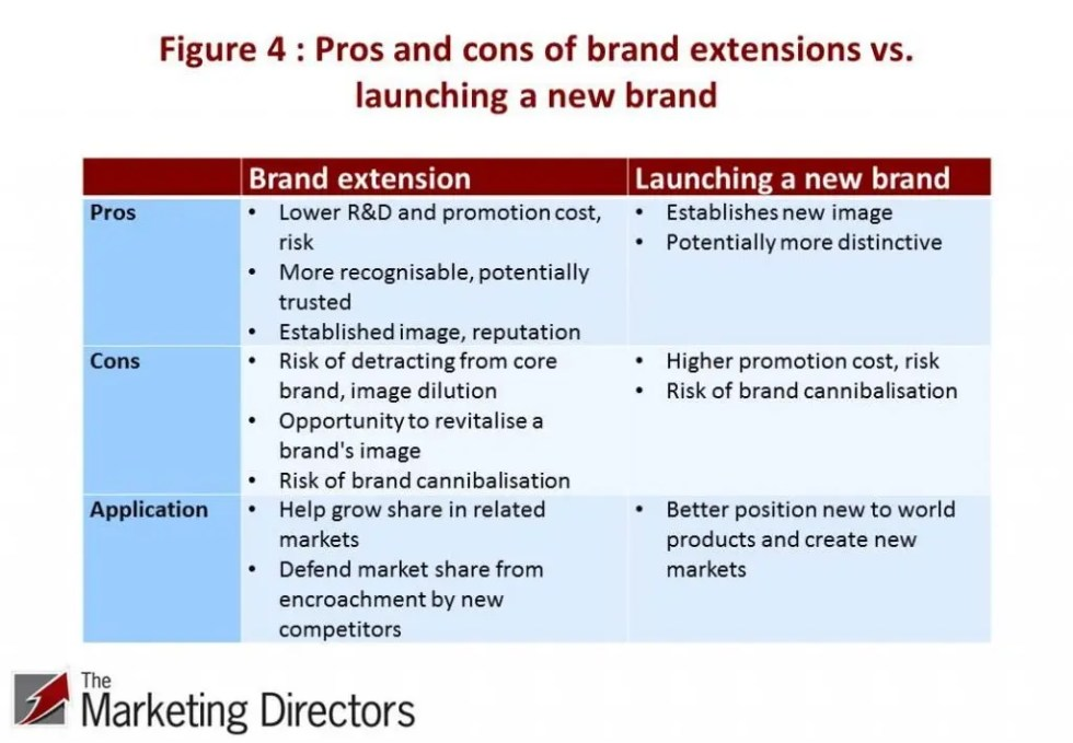 Pros and cons of brand extensions vs. new brandss