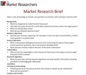 Example market research brief