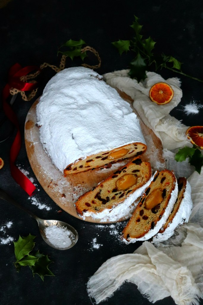 Stollen on a chopping board