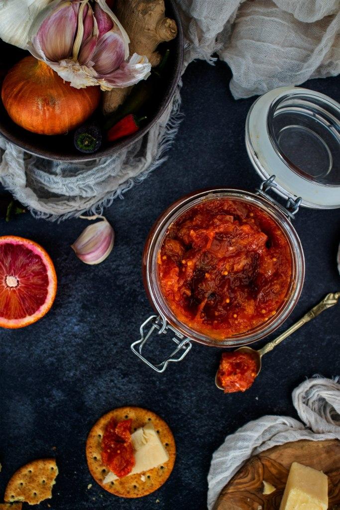 spicy blood orange chutney