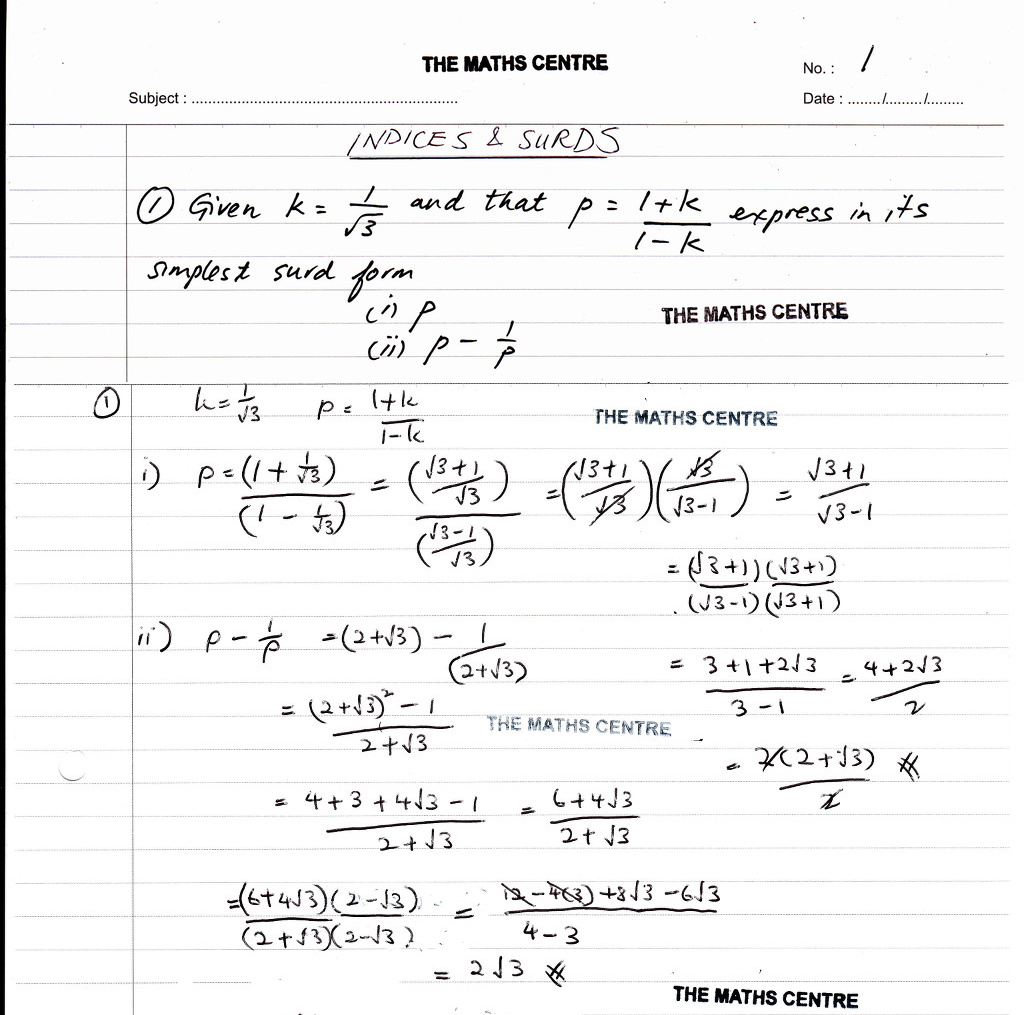 Worksheet Math Surds