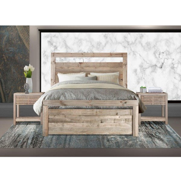 Carla Bed with Harrow Pedestals (Driftwood) - Double Bed