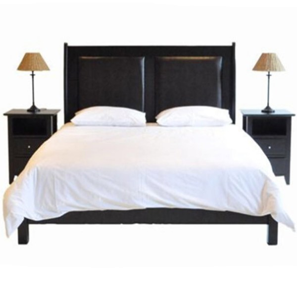 Paris Leather Bed (Mahogany) - King Bed