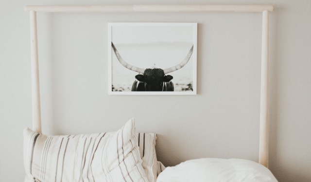 white bed and white walls