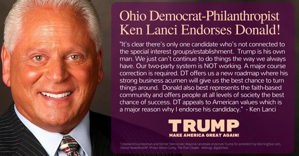 Ohio Democrat, Ken Lanci Endorses Trump