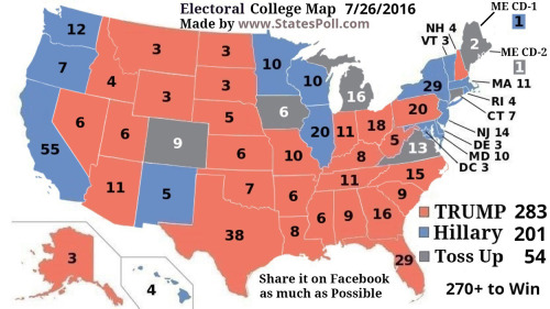 Breaking News Electoral College Map July 26 2016 TRUMP 283 vs Hillary 201 Toss Up 54