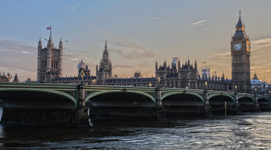 Westminster Bridge with the Houses of Parliament behind