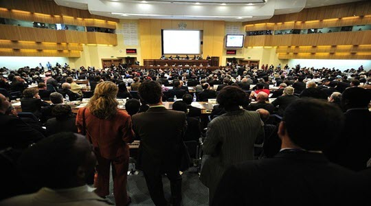 A large full conference room from the back