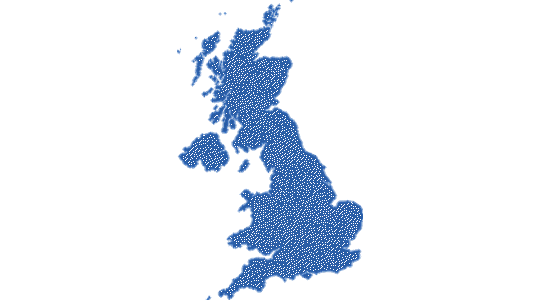 Map of the UK in dark blue with small white dots