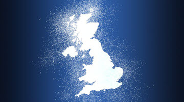 The UK totally white with white glowing dust around it
