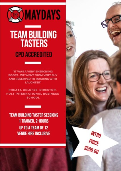 Flyer offering CPD accredited improv team building tasters for £500
