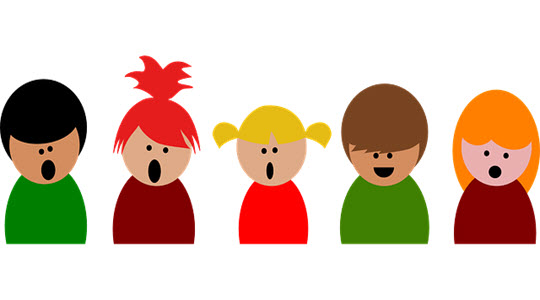 cartoon image of five children singing