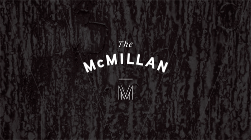 the mcmillan logo against a black background