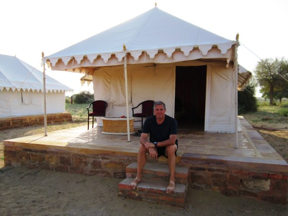 Our tent had a comfy bed inside, but we opted for a bed set up in front of our tent for a night-long stare at the incredible stars over the Thar Desert.