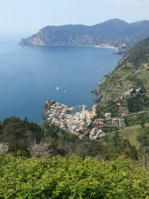 Looking down onto Vernazza from the hike from St. Bernardino.