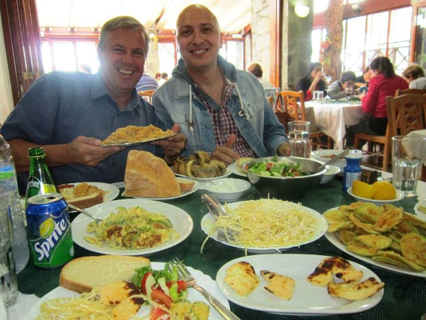 Vangelis Evangelou and yours truly with half of the mezze at Maria's near Lefkara.