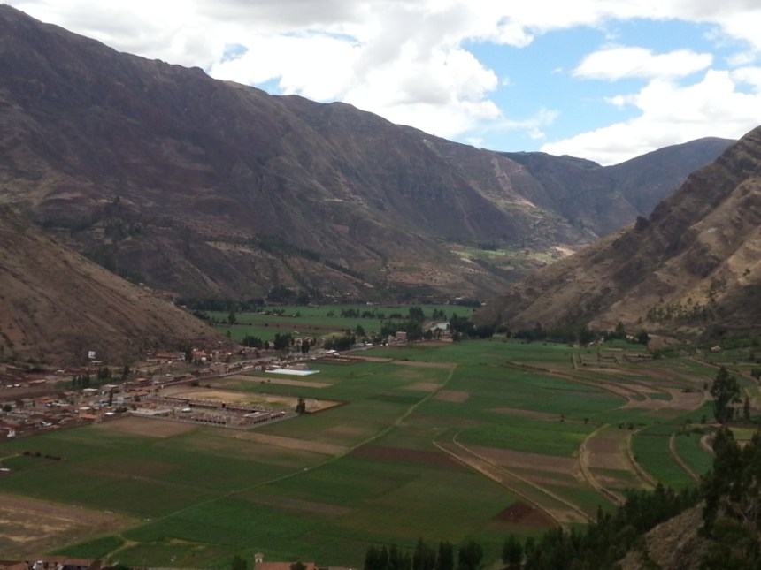 The view down the barrel of Sacred Valley from the Incan terraces of Pisac.