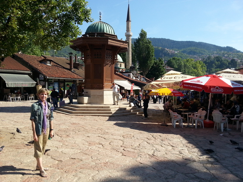 Gabi in so-called Pigeon Square in Old Town Sarajevo, ringed by cafes and restaurants and the shops of the bazaar.