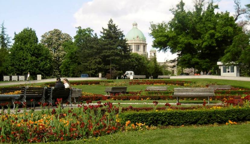 Public park with Serbia's national assembly in the background