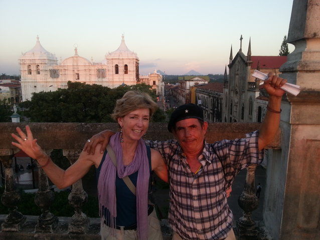 Miguel and Gabi atop the museum, with the Leon Cathedral and volcanoes of the region in the distance behind them