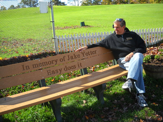 The bench Gabi and I had installed at the Ashfield Golf Course in dad's honor. There's one for mom, too, nearby under the shade tree on the first teebox.