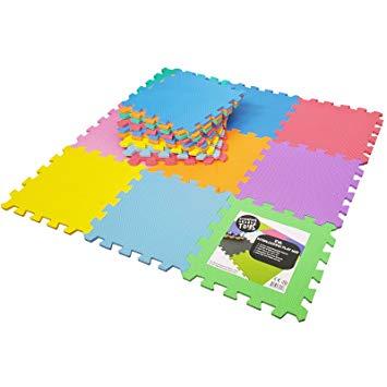 meiqicool tapis de sol enfant et bebe en mousse ideal pour leveil de lenfant 112 18 dalles colorees a imbriquer 30 x 30 cm bazis az